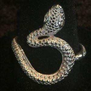 Vintage Sterling Silver Snake Ring, Size 7 1/2